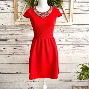 Alya Red Jewel Neck Fit and Flare Dress SZ S
